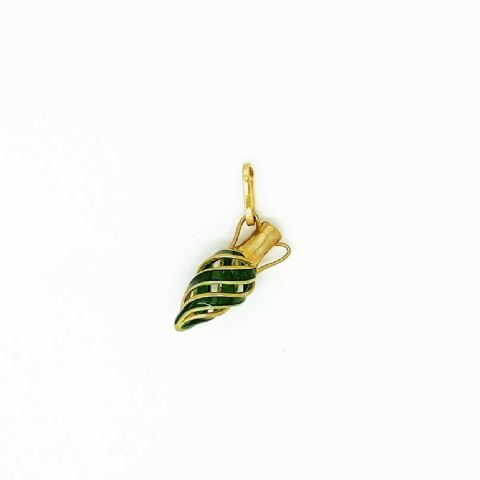Genuine 9ct Yellow Gold Urn Shaped Bottle Charm/Pendant with Green Enamel Finish